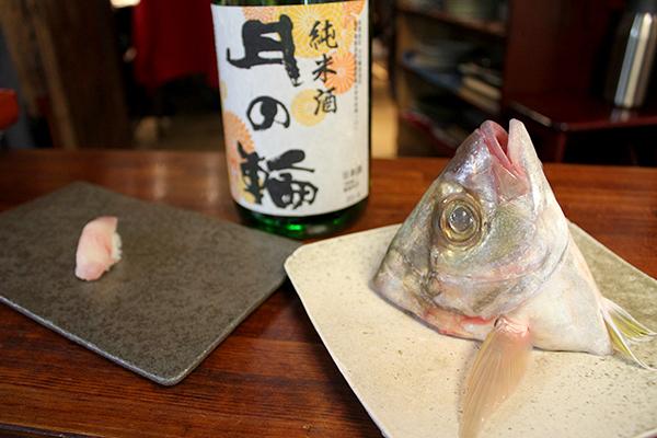 長崎県五島列島 福江島 カイワリ(醤油)× 月の輪 純米ひやおろし 燗度45℃