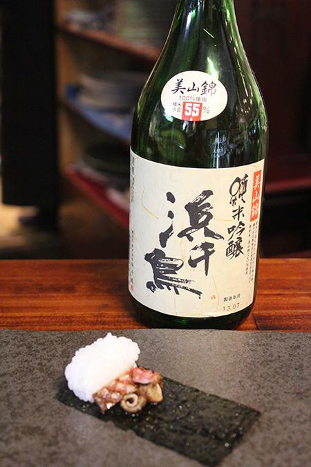 イシガキダイとハチビキの皮ポン酢 × 浜千鳥 純米吟醸 美山錦 燗度50℃